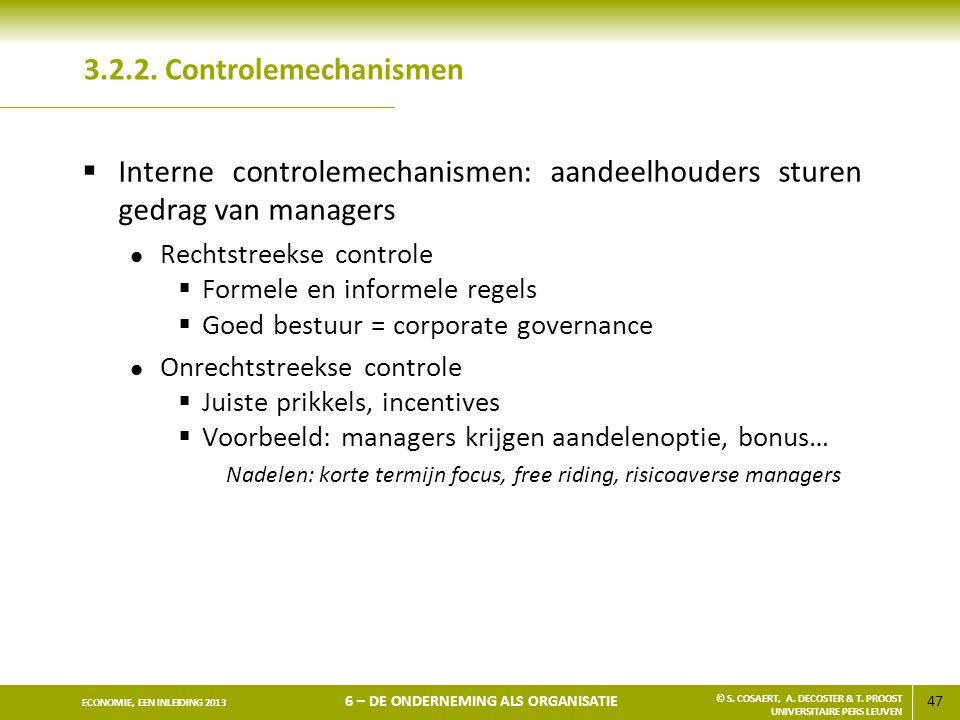 Interne controlemechanismen: aandeelhouders sturen gedrag van managers