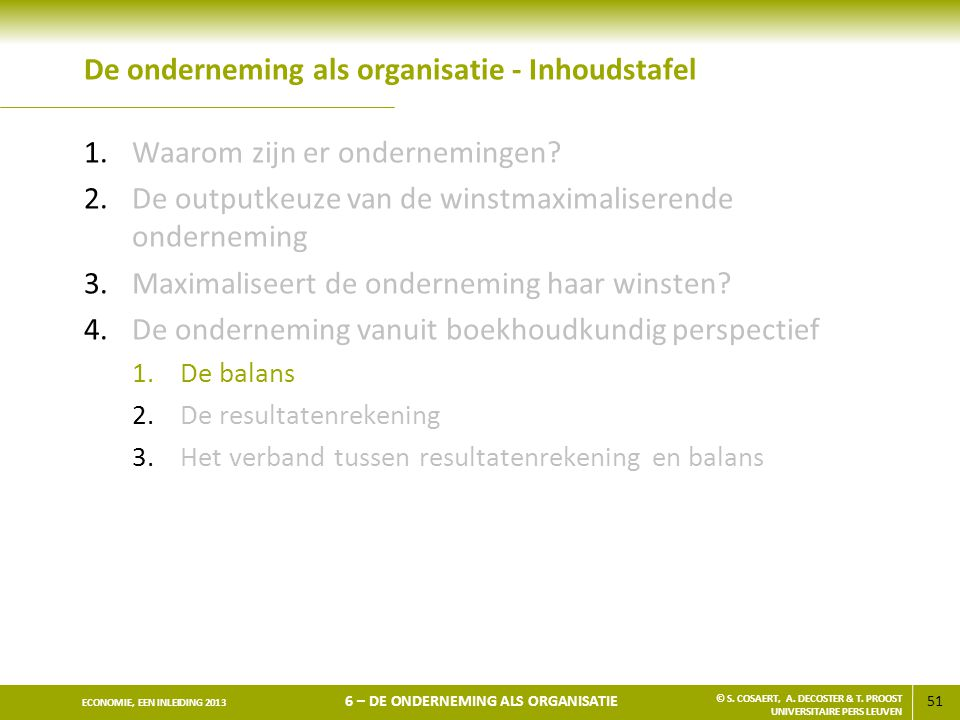 De onderneming als organisatie - Inhoudstafel
