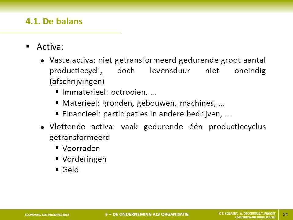 4.1. De balans Activa: Vaste activa: niet getransformeerd gedurende groot aantal productiecycli, doch levensduur niet oneindig (afschrijvingen)