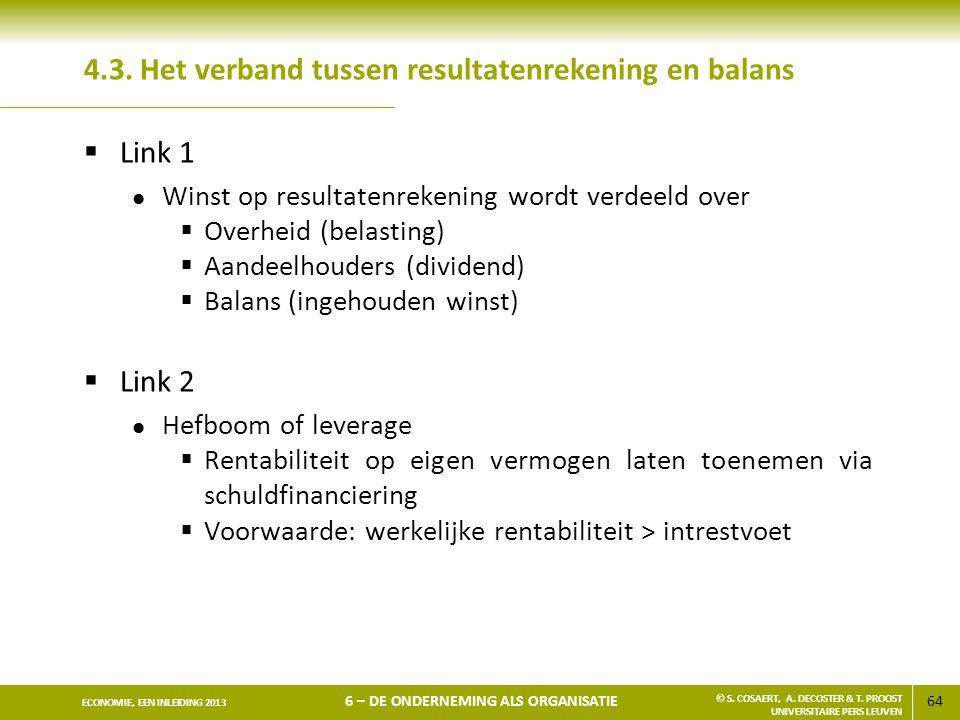 4.3. Het verband tussen resultatenrekening en balans