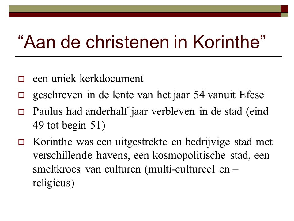 Aan de christenen in Korinthe