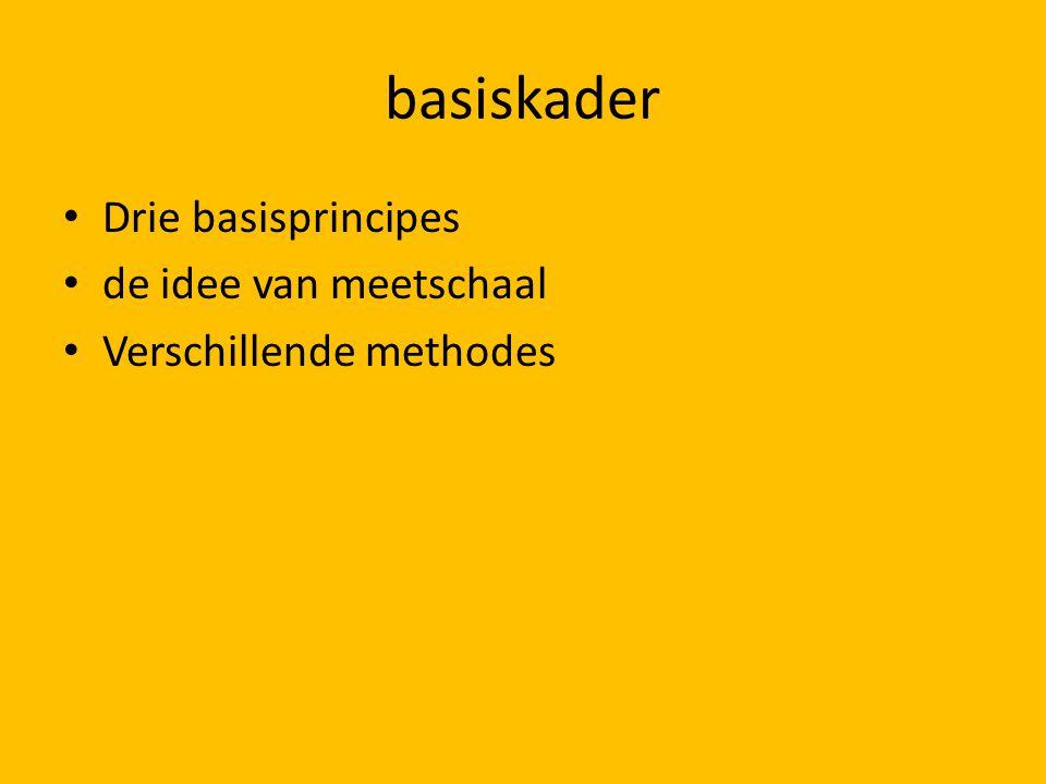 basiskader Drie basisprincipes de idee van meetschaal