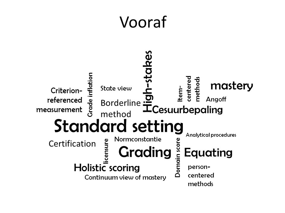 Standard setting Vooraf Grading High-stakes mastery Equating