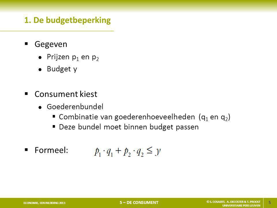 1. De budgetbeperking Gegeven Consument kiest Formeel: