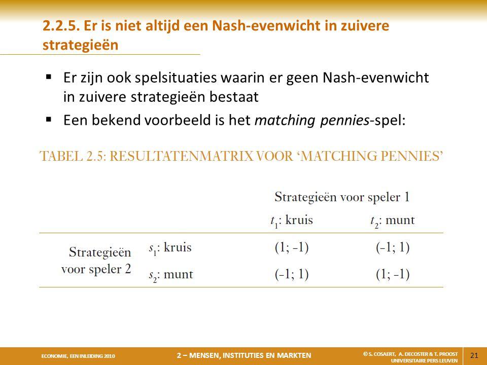 2.2.5. Er is niet altijd een Nash-evenwicht in zuivere strategieën