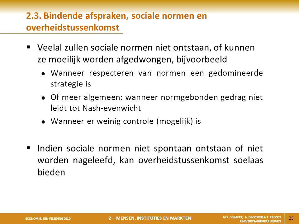2.3. Bindende afspraken, sociale normen en overheidstussenkomst