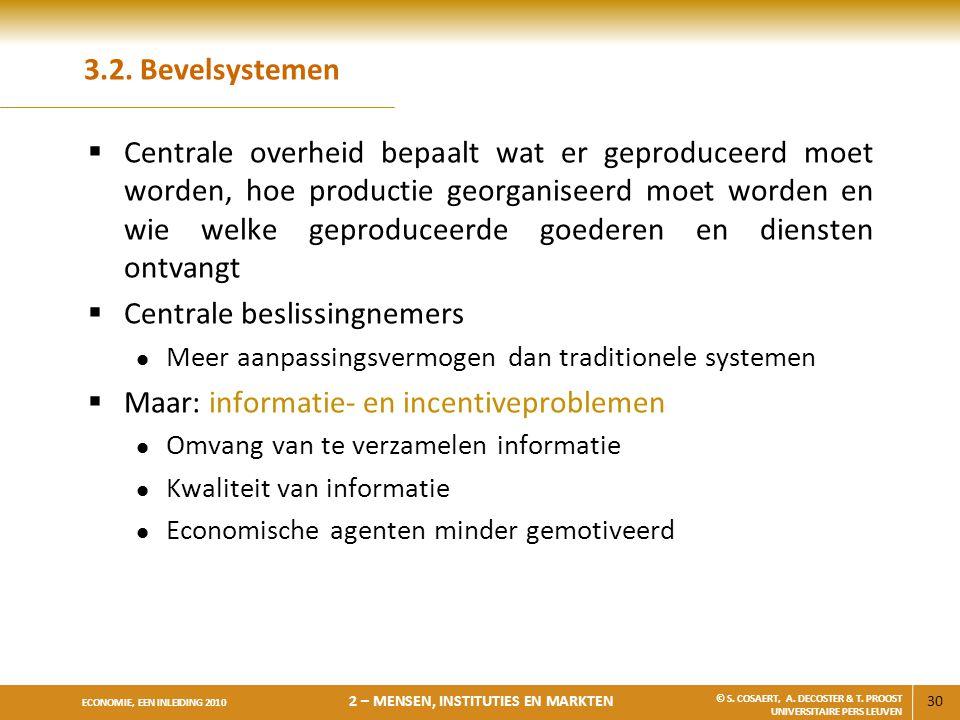 Centrale beslissingnemers Maar: informatie- en incentiveproblemen