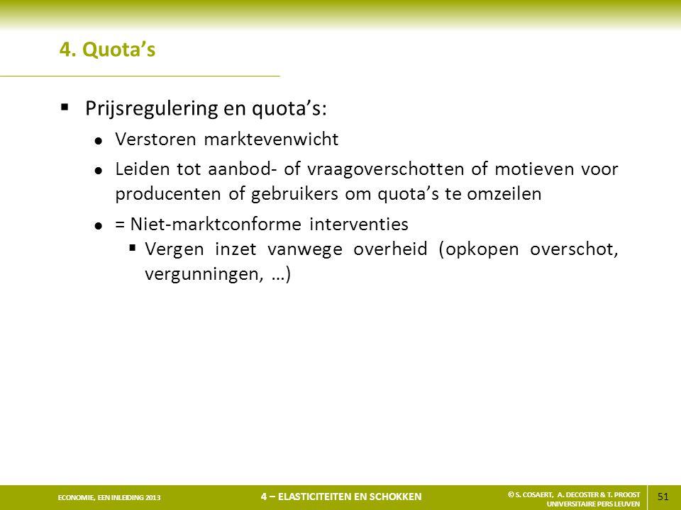 Prijsregulering en quota's:
