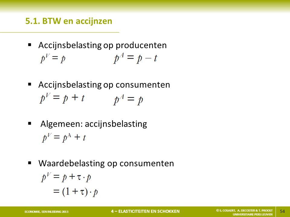 5.1. BTW en accijnzen Accijnsbelasting op producenten. Accijnsbelasting op consumenten. Algemeen: accijnsbelasting.