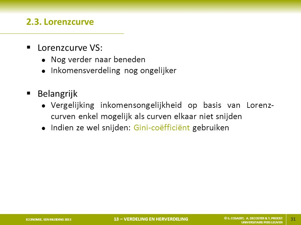 2.3. Lorenzcurve Lorenzcurve VS: Belangrijk Nog verder naar beneden