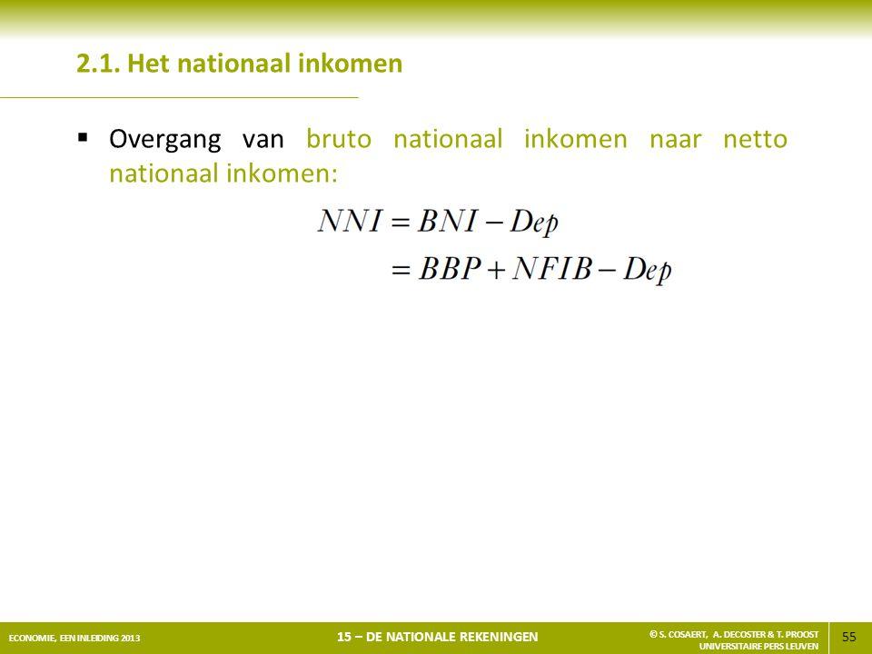 2.1. Het nationaal inkomen Overgang van bruto nationaal inkomen naar netto nationaal inkomen: