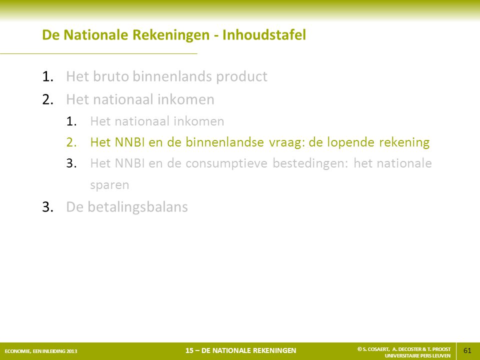 De Nationale Rekeningen - Inhoudstafel