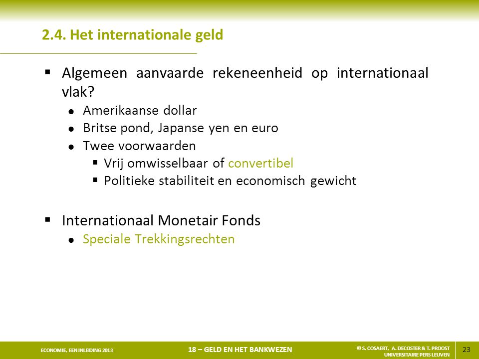 2.4. Het internationale geld
