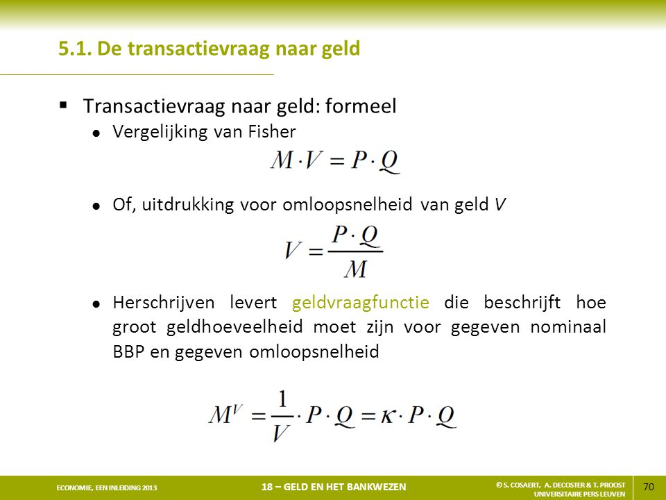 5.1. De transactievraag naar geld