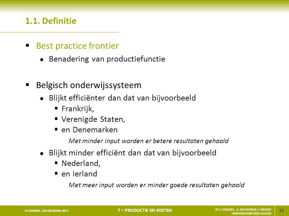 Best practice frontier