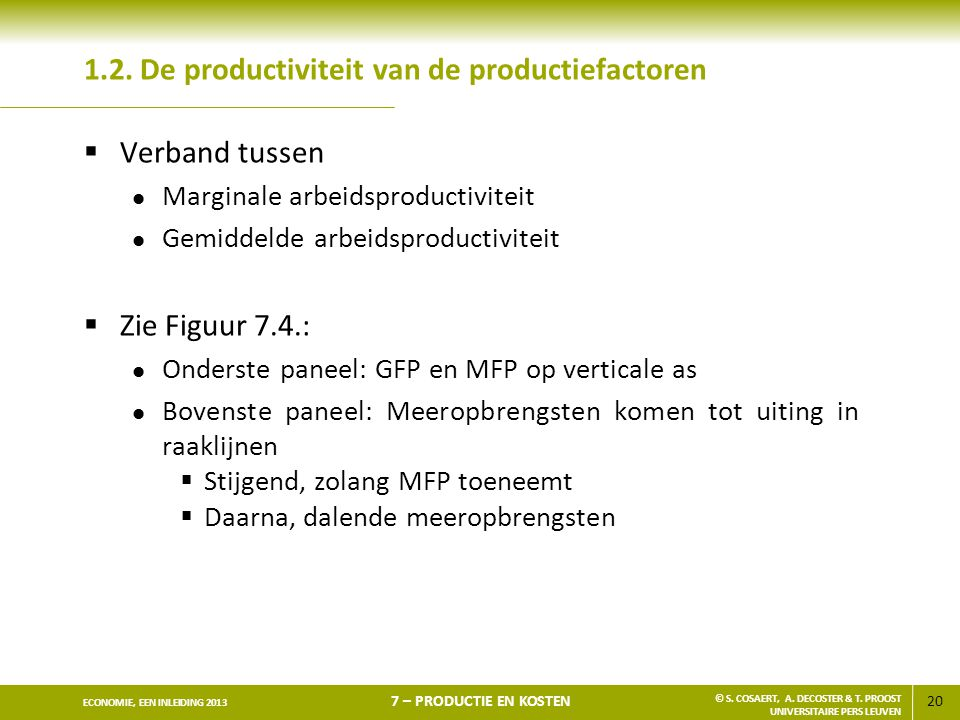 1.2. De productiviteit van de productiefactoren