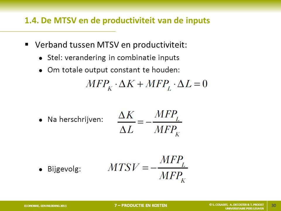 1.4. De MTSV en de productiviteit van de inputs