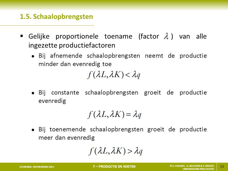 1.5. Schaalopbrengsten Gelijke proportionele toename (factor ) van alle ingezette productiefactoren.