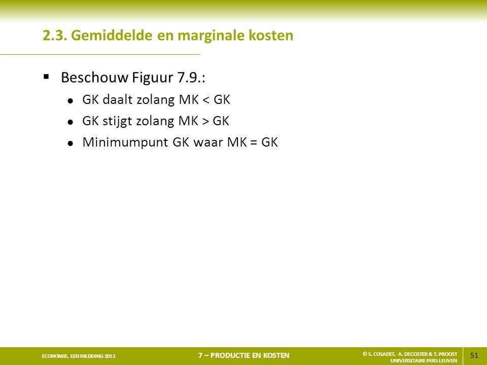 2.3. Gemiddelde en marginale kosten