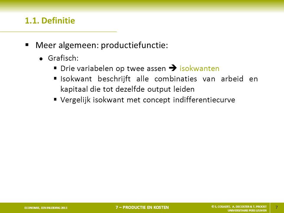 Meer algemeen: productiefunctie: