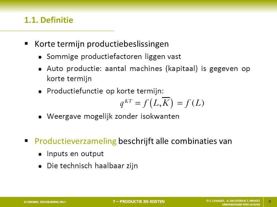 Korte termijn productiebeslissingen