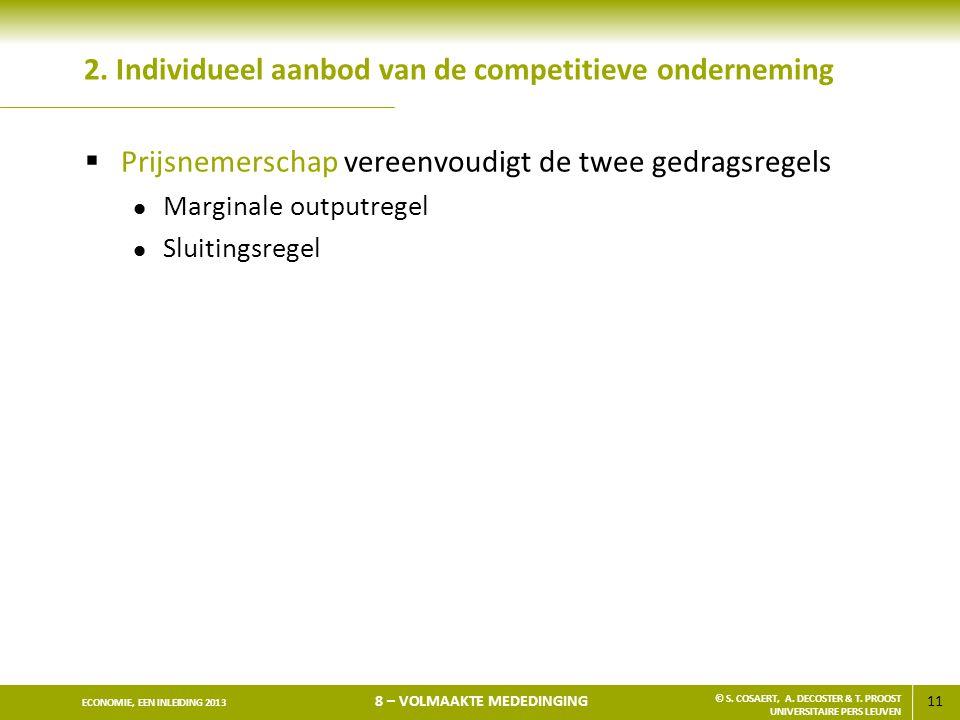 2. Individueel aanbod van de competitieve onderneming