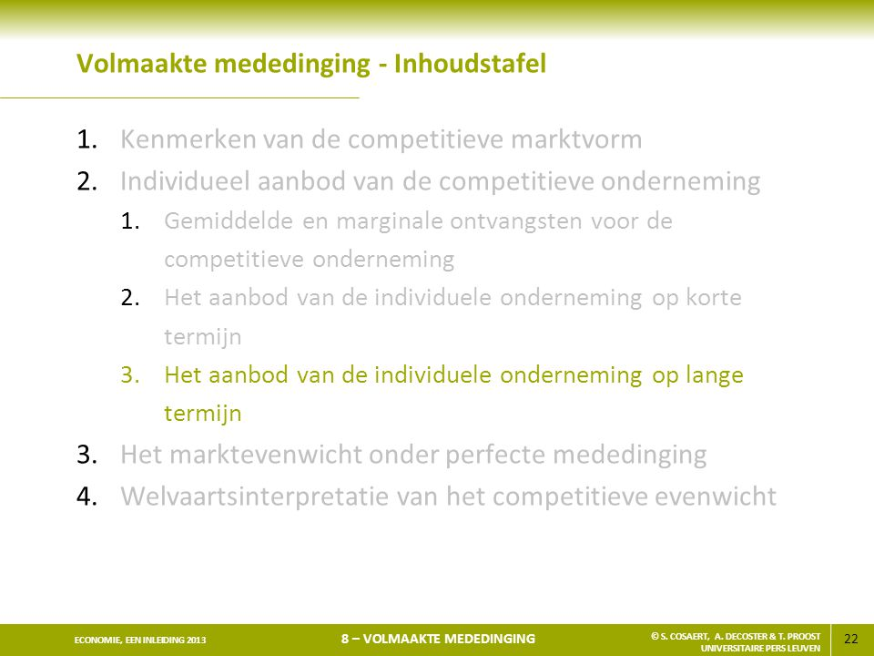 Volmaakte mededinging - Inhoudstafel