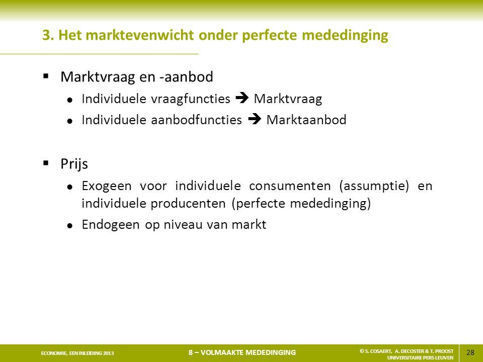 3. Het marktevenwicht onder perfecte mededinging