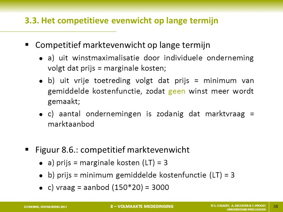 3.3. Het competitieve evenwicht op lange termijn