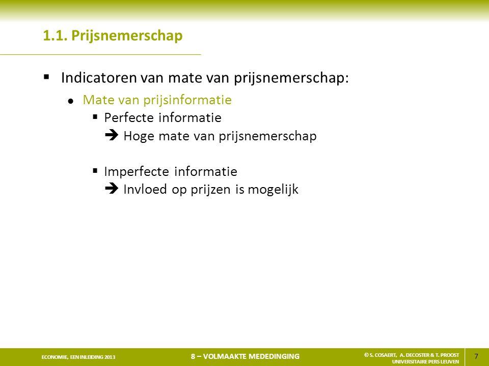 Indicatoren van mate van prijsnemerschap: