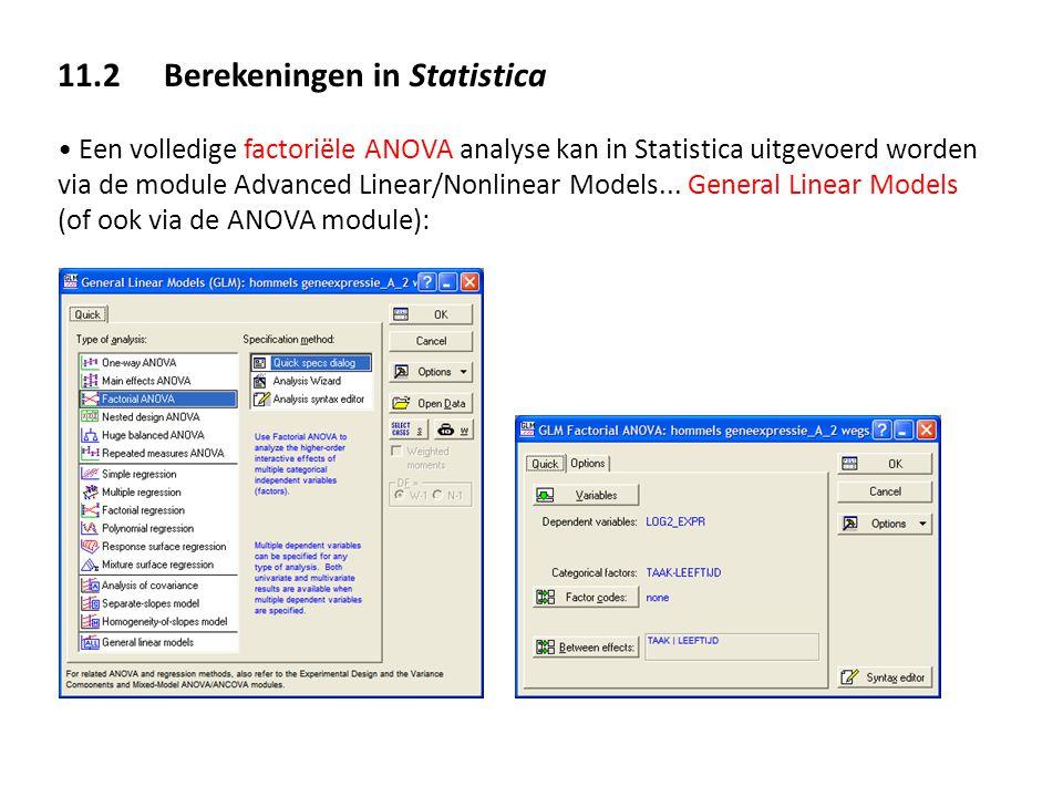 11.2 Berekeningen in Statistica