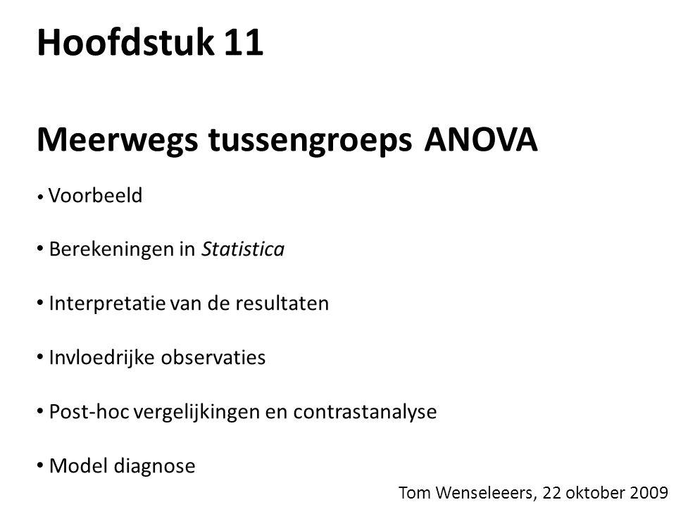 Hoofdstuk 11 Meerwegs tussengroeps ANOVA Berekeningen in Statistica