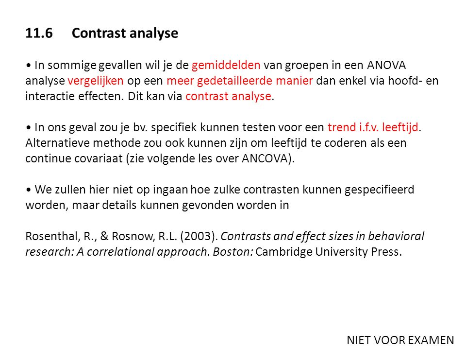 11.6 Contrast analyse