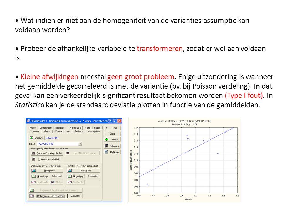 • Wat indien er niet aan de homogeniteit van de varianties assumptie kan voldaan worden