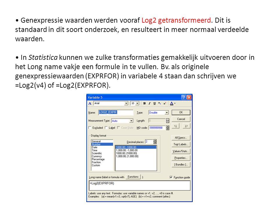 • Genexpressie waarden werden vooraf Log2 getransformeerd