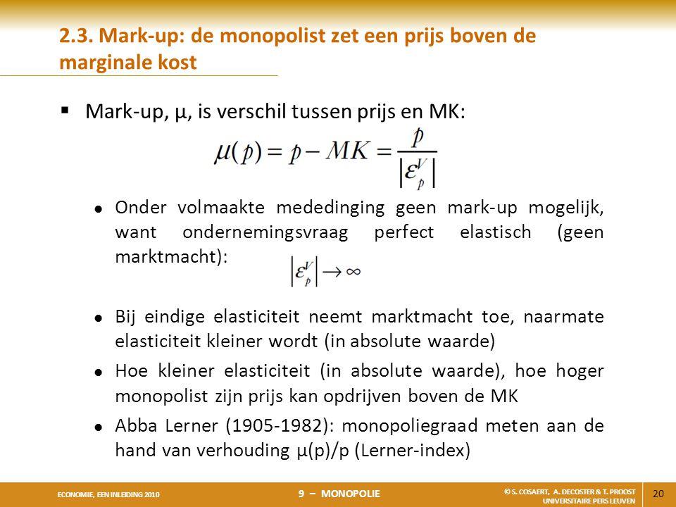 2.3. Mark-up: de monopolist zet een prijs boven de marginale kost