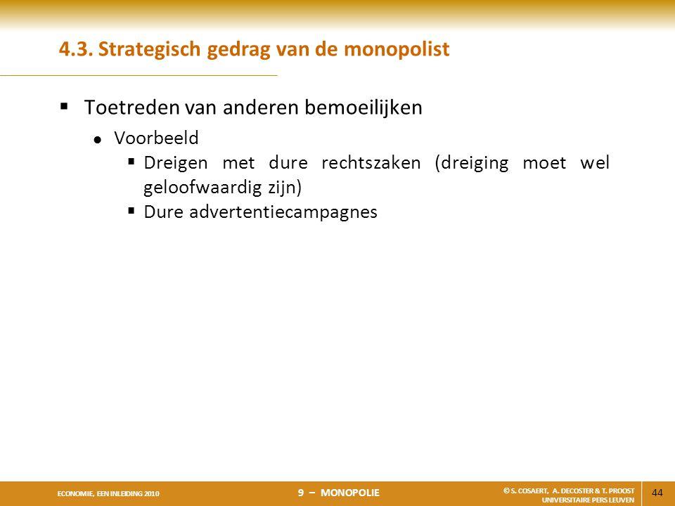 4.3. Strategisch gedrag van de monopolist