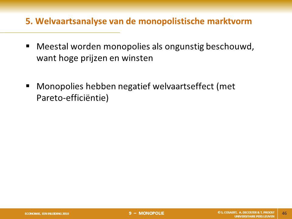 5. Welvaartsanalyse van de monopolistische marktvorm