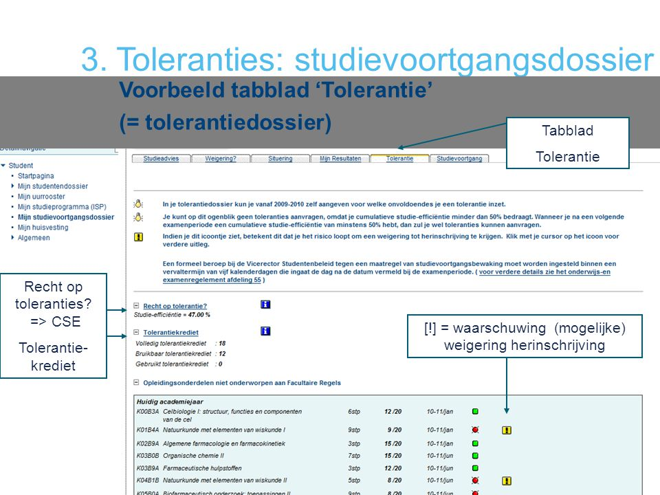 3. Toleranties: studievoortgangsdossier