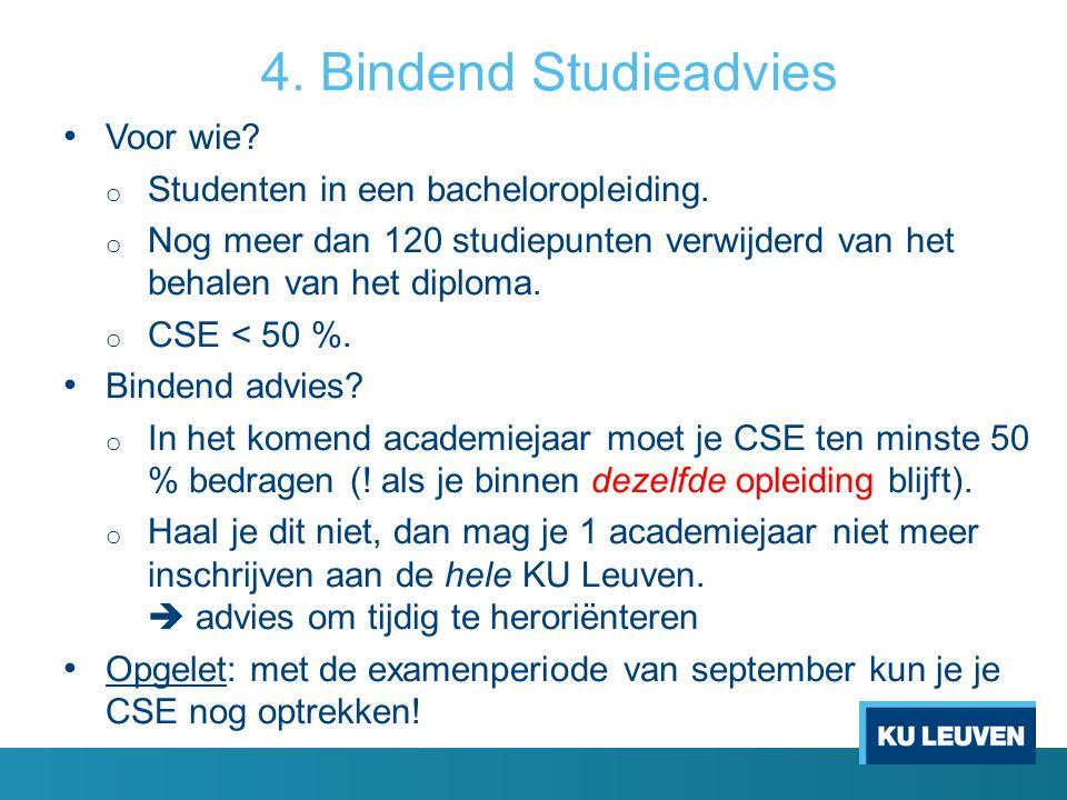 4. Bindend Studieadvies Voor wie Studenten in een bacheloropleiding.