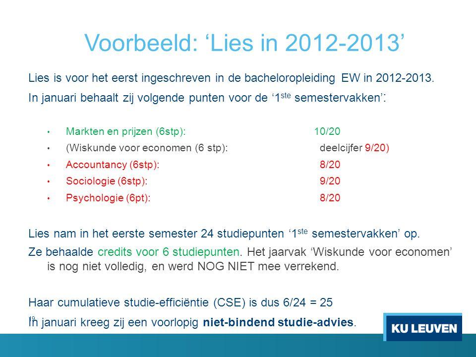 Voorbeeld: 'Lies in 2012-2013' Lies is voor het eerst ingeschreven in de bacheloropleiding EW in 2012-2013.