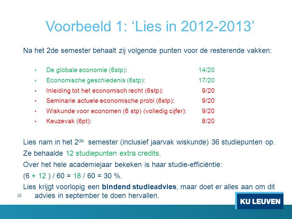 Voorbeeld 1: 'Lies in 2012-2013' Na het 2de semester behaalt zij volgende punten voor de resterende vakken: