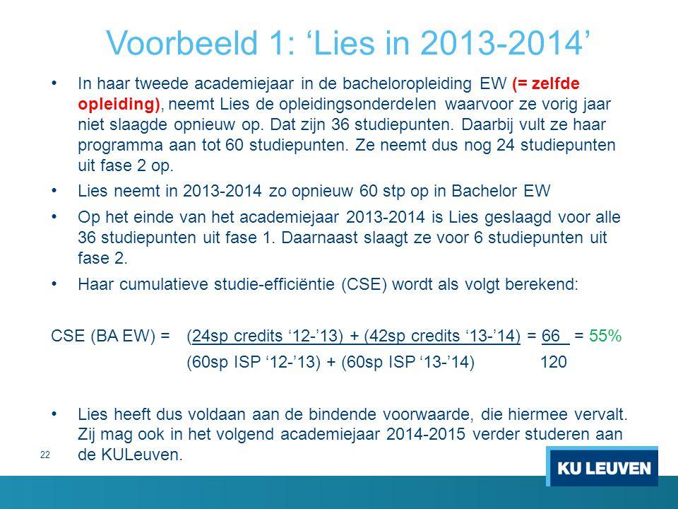 Voorbeeld 1: 'Lies in 2013-2014'