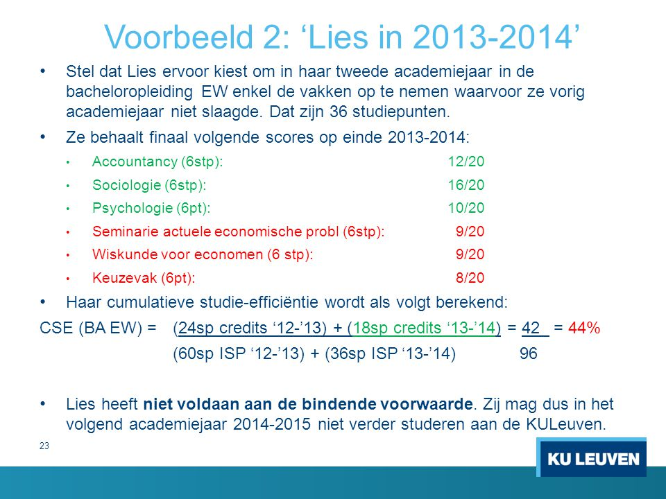 Voorbeeld 2: 'Lies in 2013-2014'