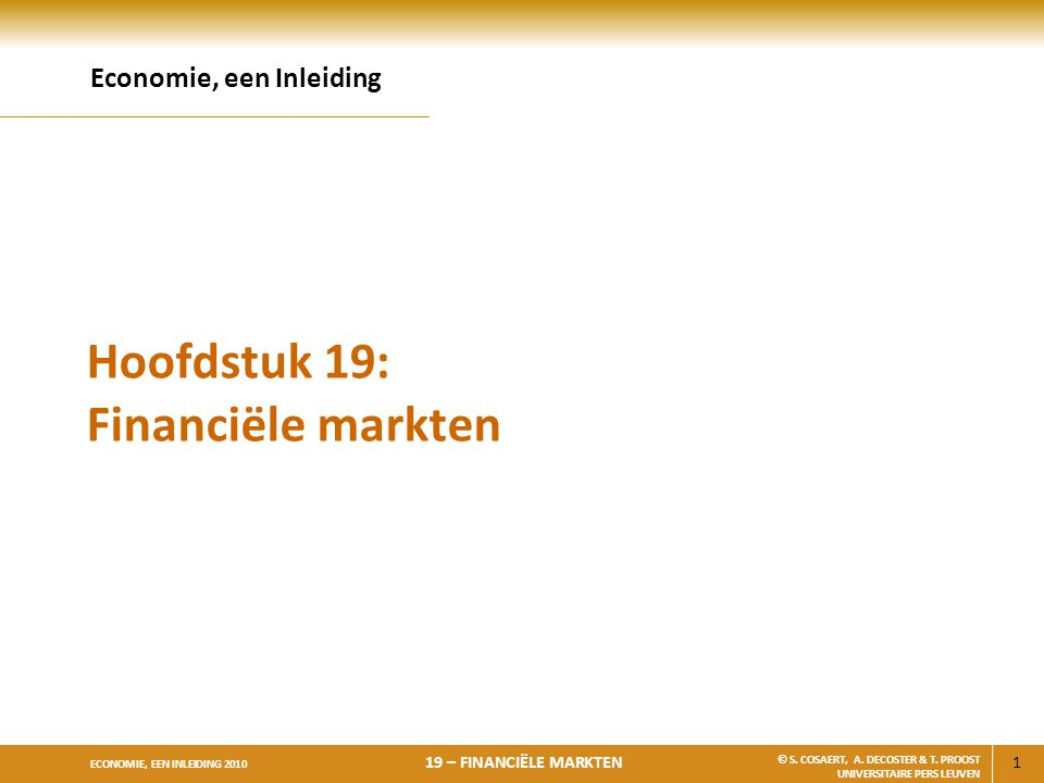 Hoofdstuk 19: Financiële markten
