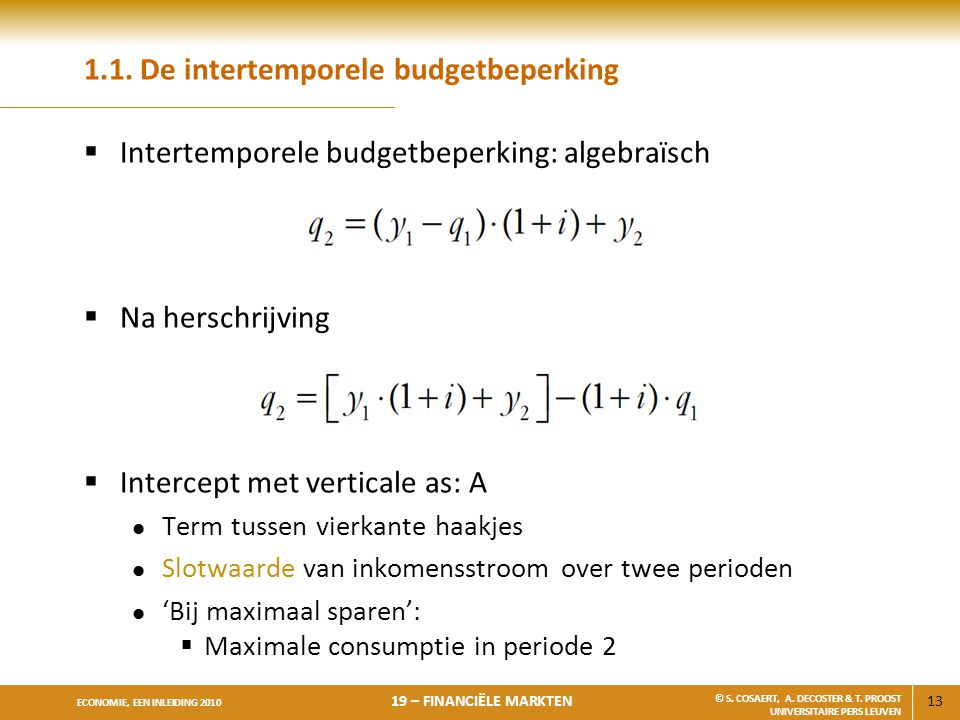 1.1. De intertemporele budgetbeperking