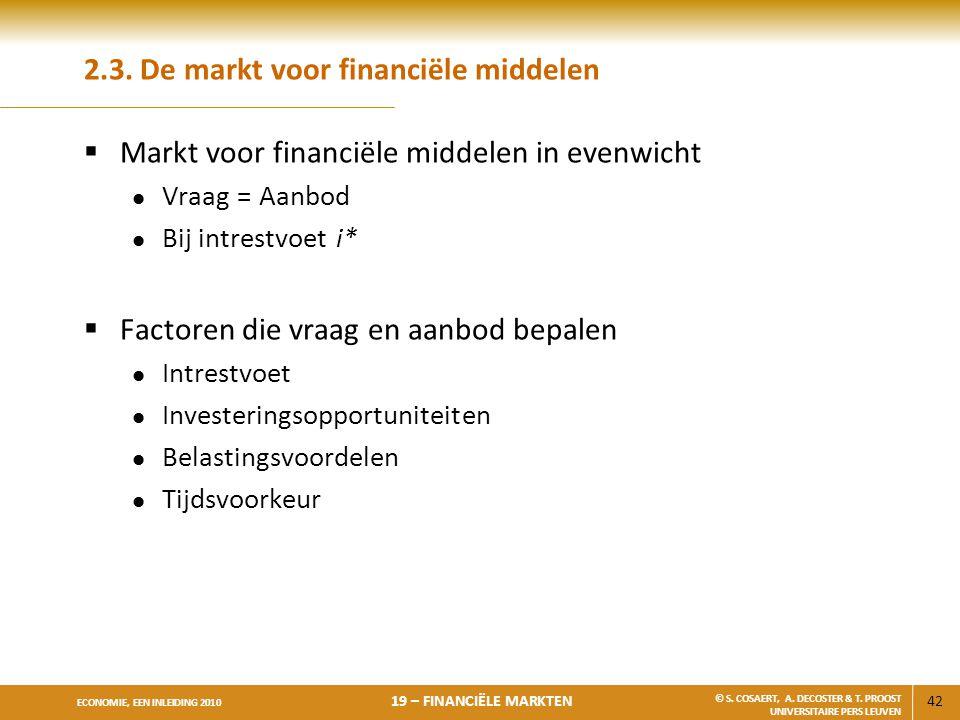 2.3. De markt voor financiële middelen