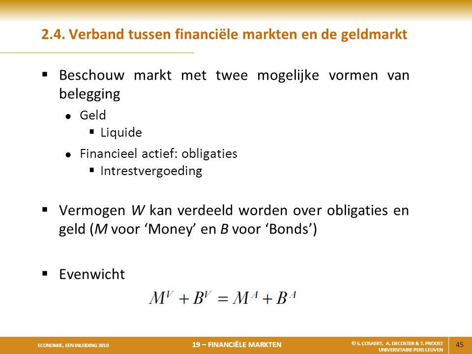2.4. Verband tussen financiële markten en de geldmarkt