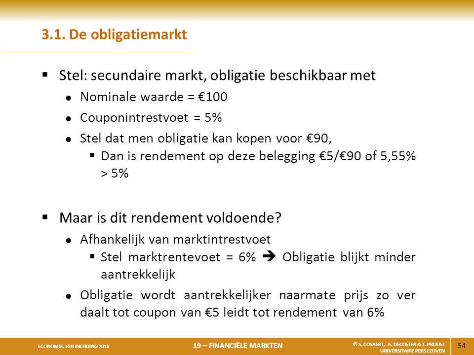 Stel: secundaire markt, obligatie beschikbaar met