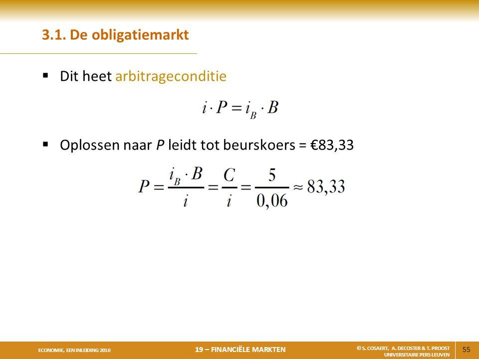 3.1. De obligatiemarkt Dit heet arbitrageconditie Oplossen naar P leidt tot beurskoers = €83,33